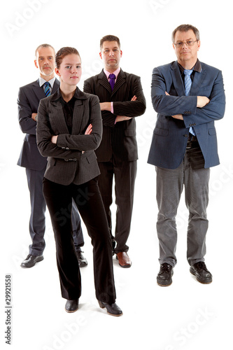 Four business people over white background