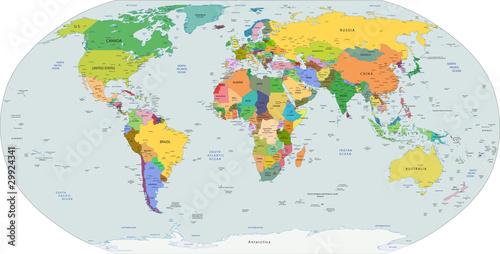Fototapeta Global political map of the world, vector
