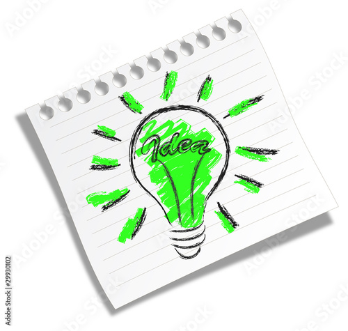 Scribble of an electric bulb with a word IDEA