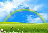 Fototapety Rainbow over a green glade the blue sky and the sun