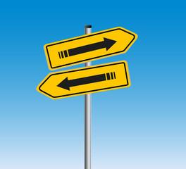 Aufwärts  -  Abwärts Verkehrsschilder