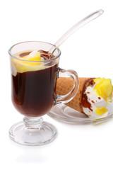 Black coffee with ice cream
