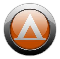 """Orange Metallic Orb Button """"Camping Symbol"""""""