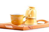 Coffee Mugs on Wooden Serving Tray