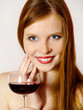 young woman with a red wine glass