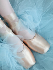 Feet in Ballet Slippers with Tutu Background