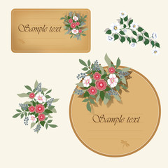 Two vintage labels with flowers