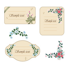 Tree vintage labels with flowers