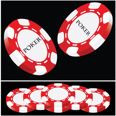 Lucky poker - red-white vector