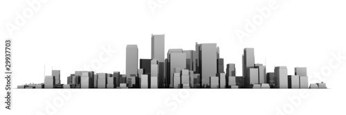 Wide Cityscape Model 3D - Shiny Dark Grey City White Background