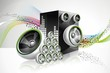 Abstract vector shiny design with speakers