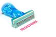 registered blue rubber stamp