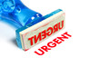 urgent blue rubber stamp