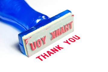 thank you blue rubber stamp