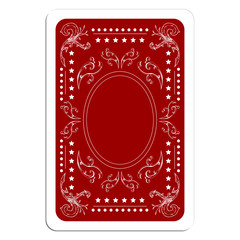 Playing card back over white square background