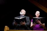 Senior White Man Young Woman Singing Church Hymnal poster