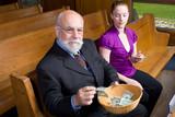 Senior Man Young Woman Putting Money Church Basket poster