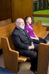 Happy Senior White Man Young Woman Sitting Church