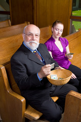 Senior Man Young Woman Church Offering Basket