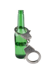 Alcoholism concept, bottle and handcuffs