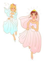 走る2人の花嫁