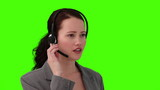 Dark-haired woman talking on the phone