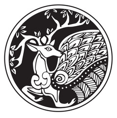 A druidic astronomical symbol of a deer
