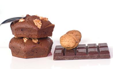 brownies appétissants au chocolat et noix