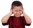 kid covering ears from loud noise, isolated