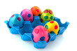 Colorful easter eggs in blue tray
