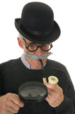 Inspector with magnifier poster