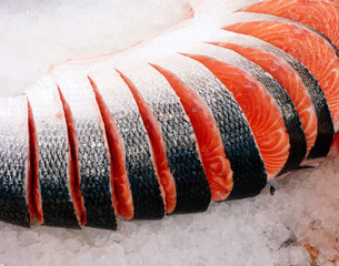 fresh sliced red salmon