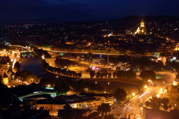 Night panoramic view of Tbilisi, Georgia
