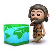 3d Cave man ponders the geometry of the world