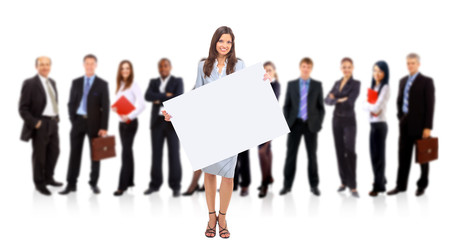 Businesswoman standing and holding a white empty