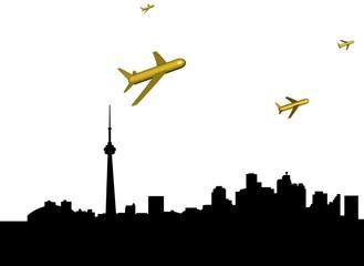 abstract planes departing Toronto illustration