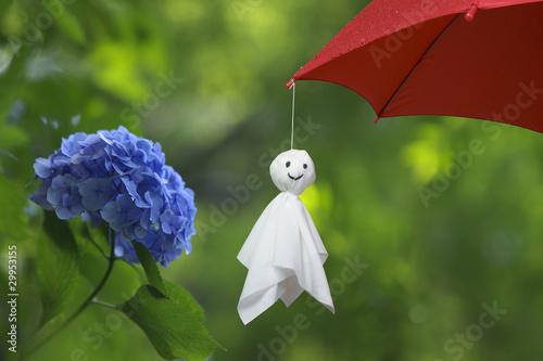 Spoed canvasdoek 2cm dik Hydrangea 紫陽花と傘