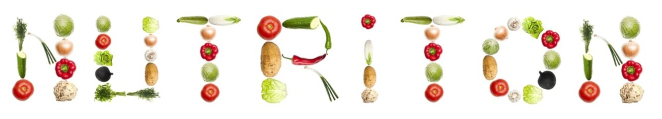 Nutrition word made of vegetables