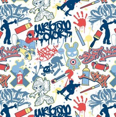 urban graffiti elements seamless vector pattern
