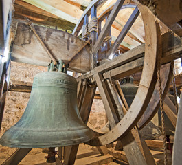 Old bells in a church tower