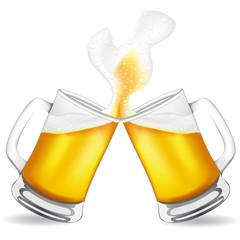 beer in glass vector illustration