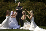 Four brides and bridegroom