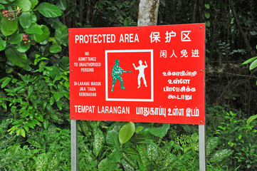 Red Sign Warning Of Protected Area