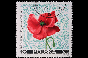 Poland - CIRCA 1967: A stamp - poppy