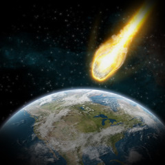 Asteroid and Earth : meteor impact over usa