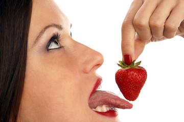 Tongue on Strawberry