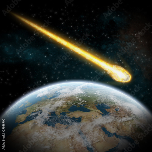 Asteroid and Earth : meteor impact over europe - 29958900