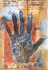 Mixed media painting with palm reading