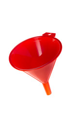 Red plastic funnel on white