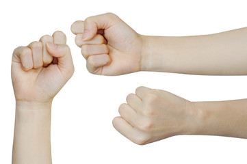 fist on a white background, Back and front hands